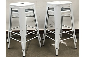 White Replica Tolix Bar Stools -Lot Of Four