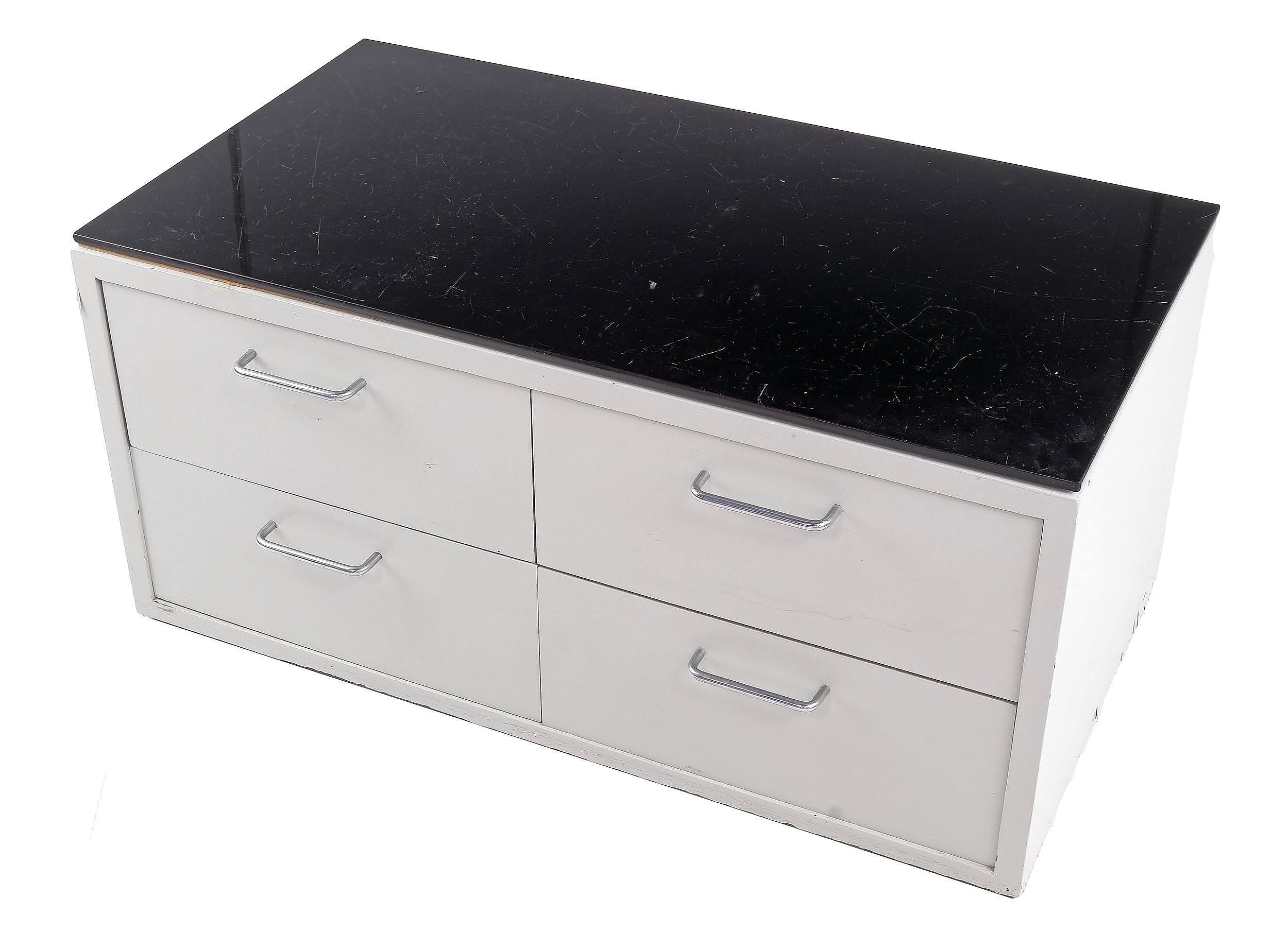 'Black Glass Topped Chest of Drawers with Chrome D Handles from Waks House 1 in Northbridge (Designed by Harry Seidler)'