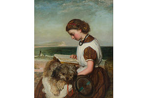 James Clark WAITE (1832-1921), Girl Reading with Dog on Her Lap, British Coast, Oil on Canvas