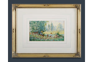 D. SHORT, Bucolic Afternoon, Oil on Card