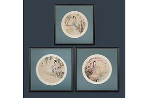 Chinese School (3) Silk Roundels each depicting a Woman in a Garden , Watercolour on Silk