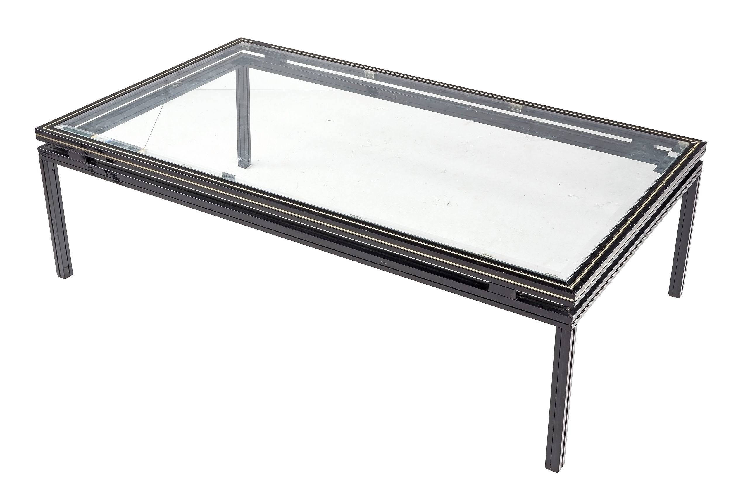 'Pierre Vandel Paris Black Aluminum and Beveled Glass Coffee Table'