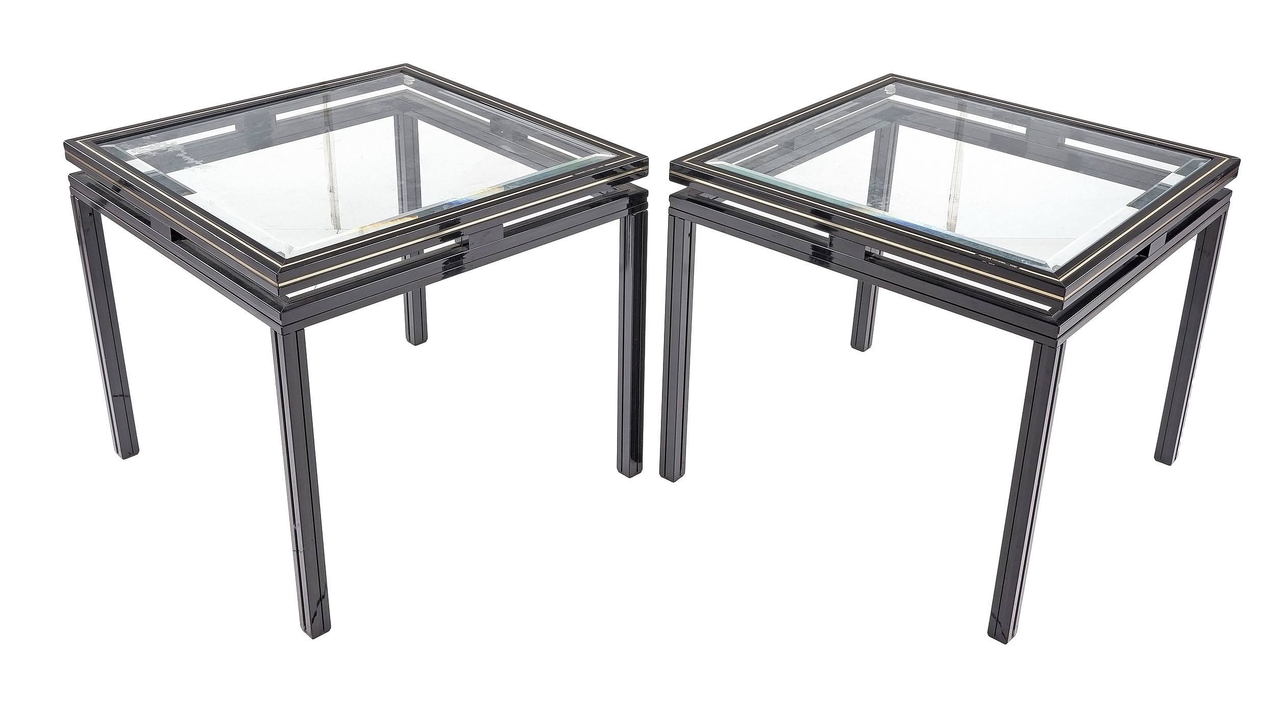 'Pair Pierre Vandel Paris Black Aluminum and Beveled Glass Side Tables'