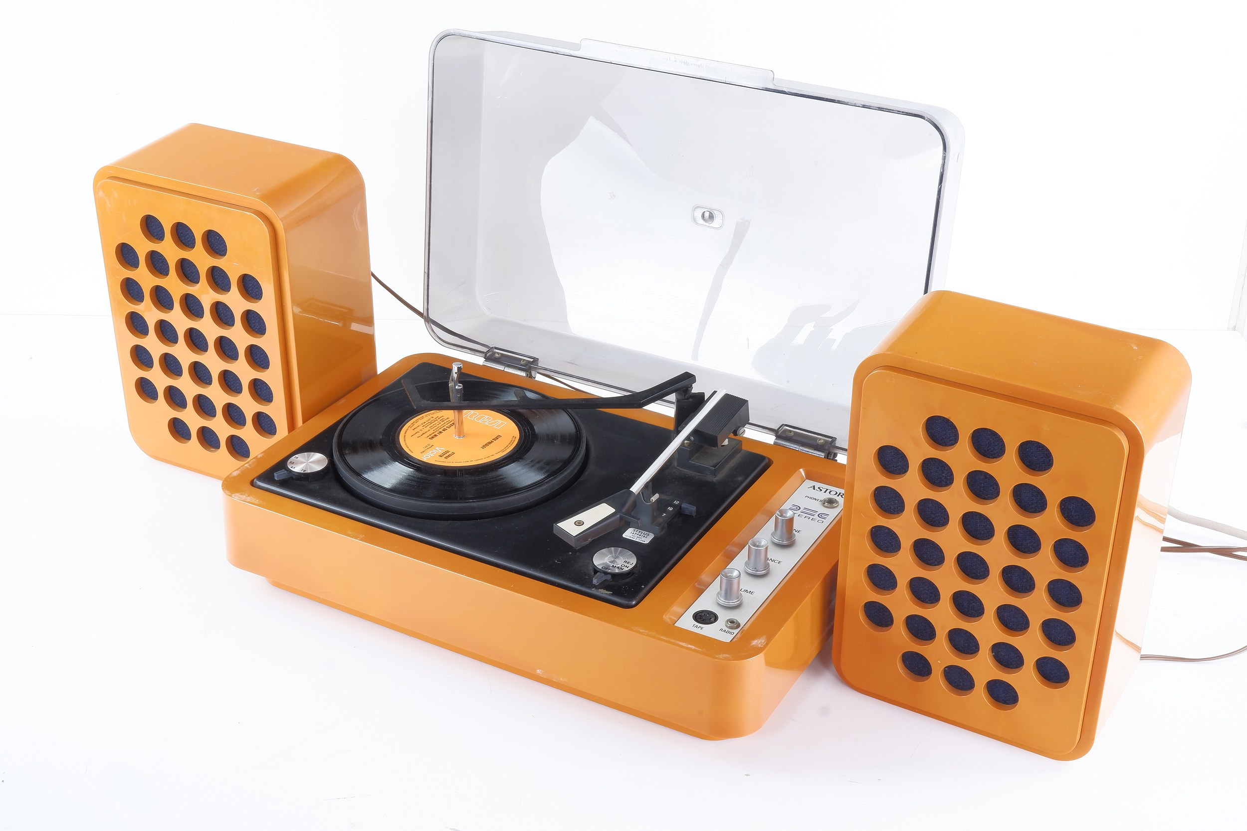 'Astor Rebel Stereo Record Player with Speakers, Circa 1970s'