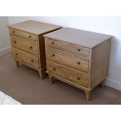 Pair of Contemporary Limed Wood Bedside Chests