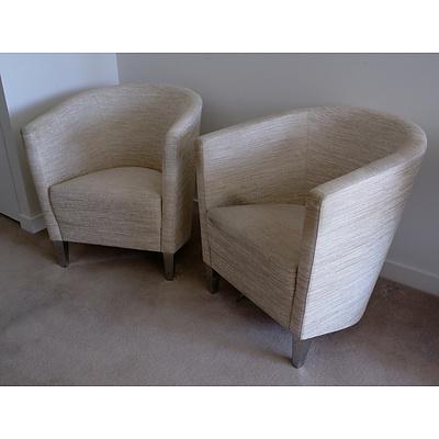Two Italian BPA International Fabric Upholstered Tub Chairs