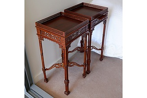 Pair of Antique Style Mahogany Side Tables with Pierced Gallery
