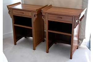 Pair of Chinese Cyprus Wood Alter Side Tables, 20th Century