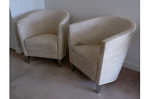 Two Italian BPA International Fabric Upholstered Tub Chairs