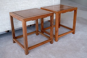 Pair of Chinese Cyprus Wood Side Tables, 20th Century