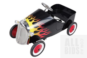 Contemporary Child's Pedal Cart with Flame Decals and Chromed Metal Grill