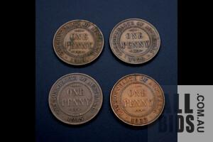 Four Australian Pennies 1915(H), 1926, 1933, 1918