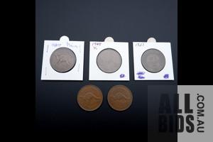 Five Australian Pennies 1923, 1941, 1944, 1940, 1948