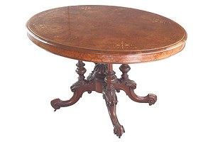 Victorian Burr Walnut Tilt Top Loo Table with Inlaid Floral Wreath