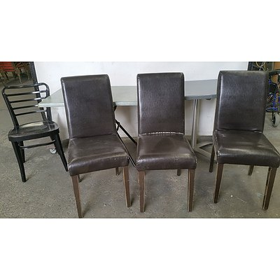 Lot of Two Cafe Tables and Four Chairs