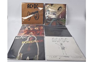 Quantity of Six AC/DC Vinyl LP Records Including Dirty Deeds Done Dirt Cheap, Highway to Hell, Back in Black and More