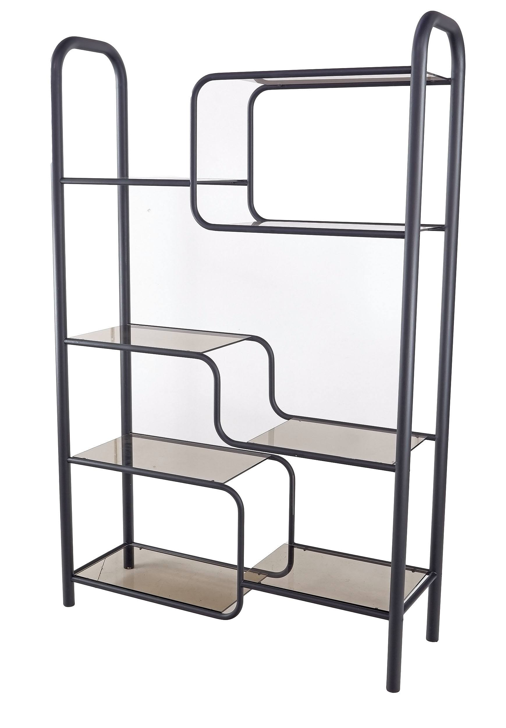'Modernist Open Book Shelf with Smoked Glass Shelves'