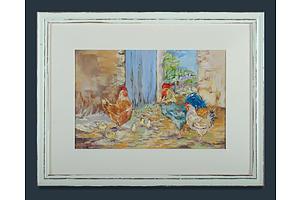 Artist Unknown, Chooks & Chicks, Oil on Canvas