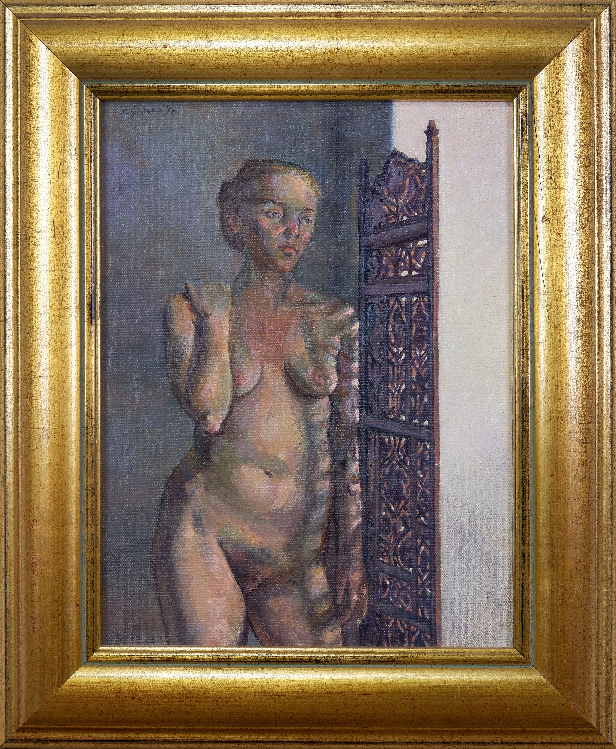 'Francis Giacco (born 1951), Confessional I 1998, Oil on Canvas on Board'