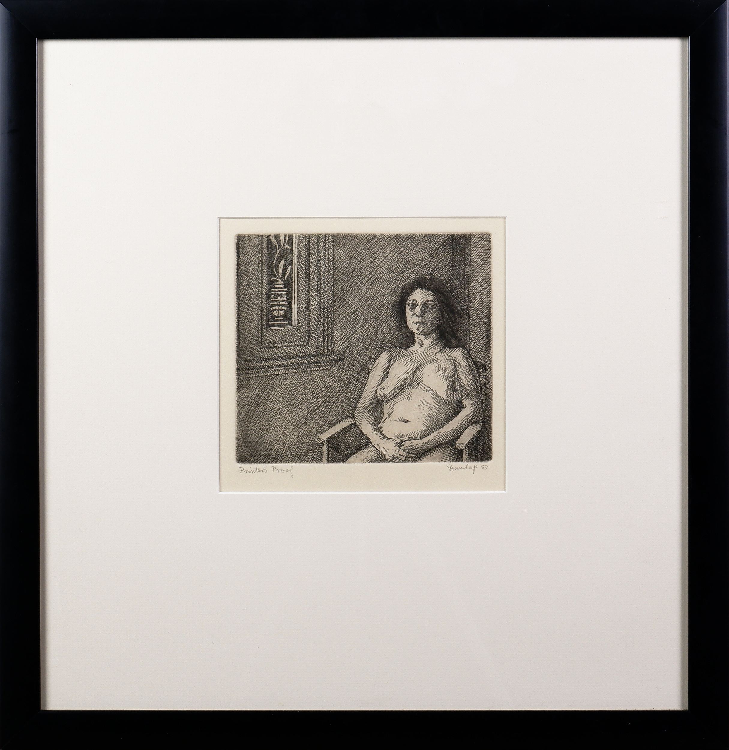 'Brian Dunlop (1938-2009), Woman by a Window 1983, Etching'