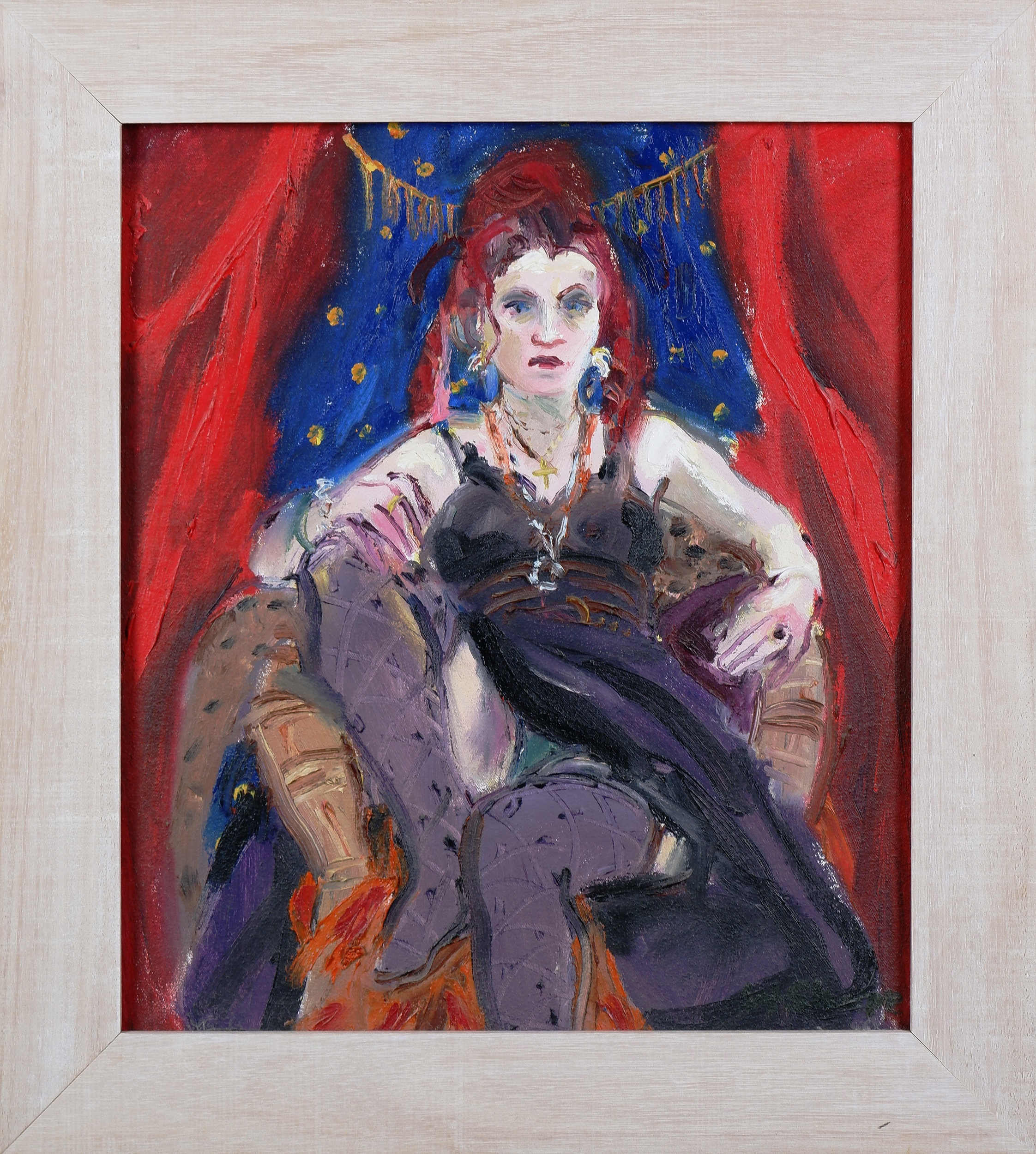 'Wendy Sharpe (born 1960), Ina with Red and Blue, Oil on Canvas'