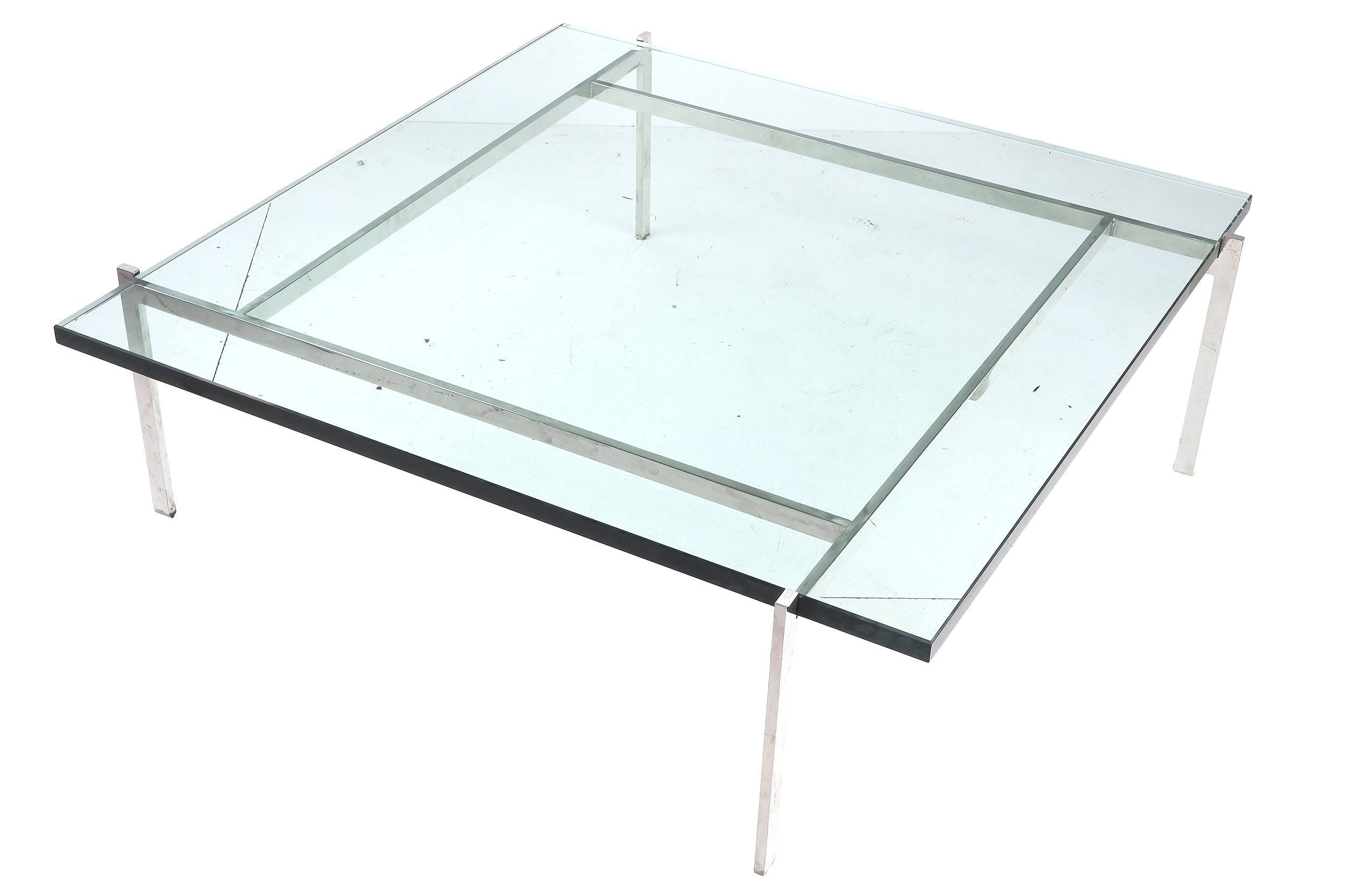 'Glass and Chrome Coffee Table in the Style of Poul Kjaerholm'