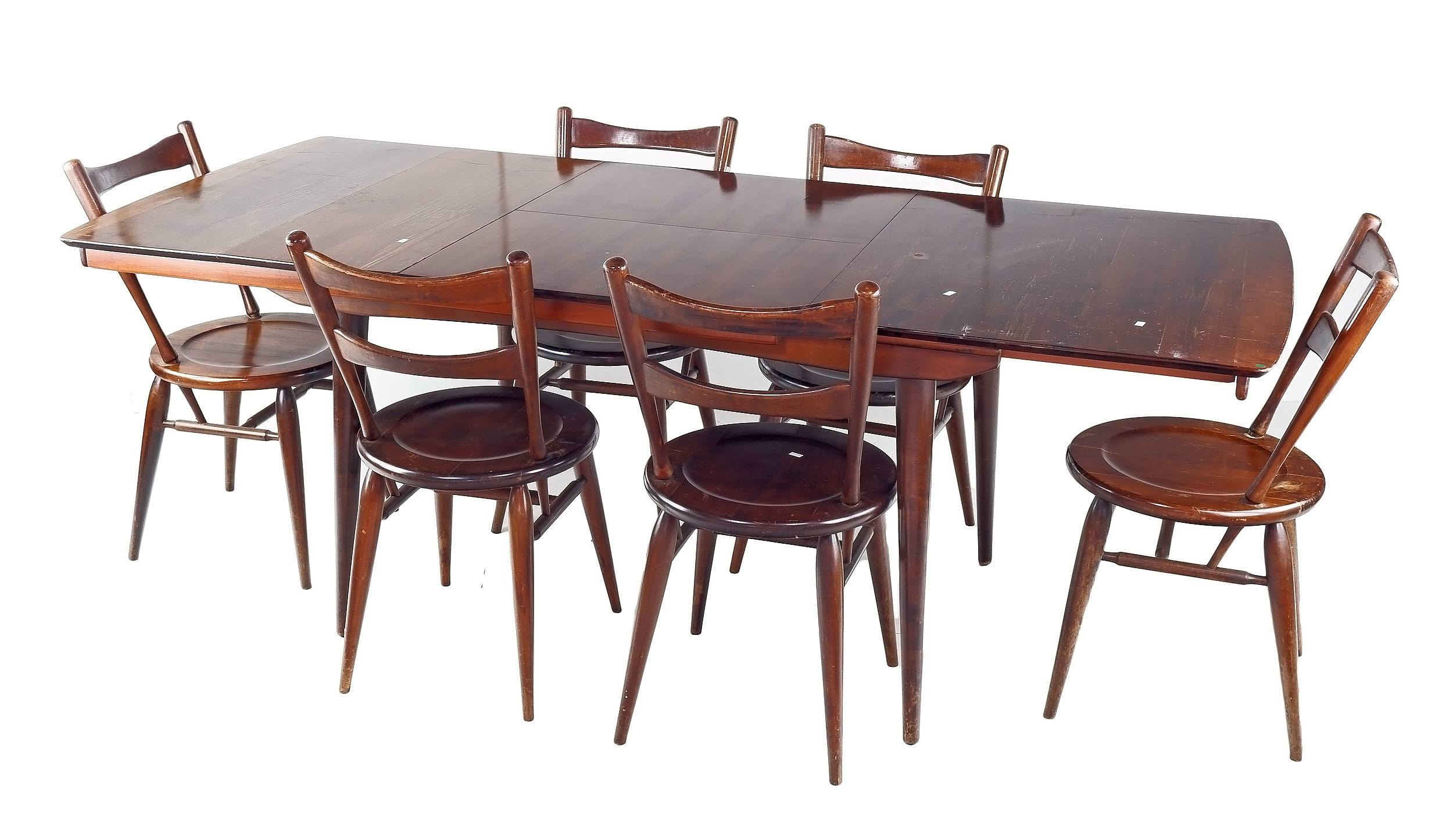 'Heritage Furniture Teak Twin Extension Dining Table with Six Matching Chairs'