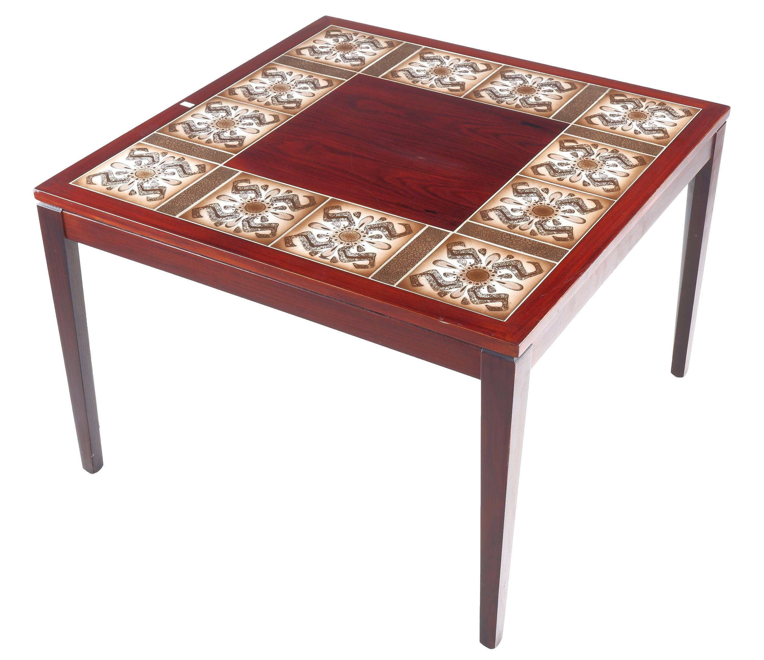 'Mid Century Danish Rosewood and Tile Coffee Table'