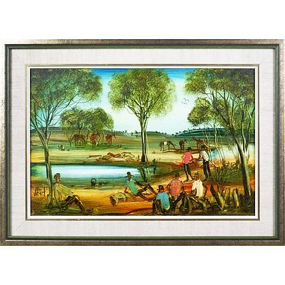 Pro Hart (1928-2006), Study for Westward Ho (from Breaker Morant), Oil on Board, 29 x 44 cm