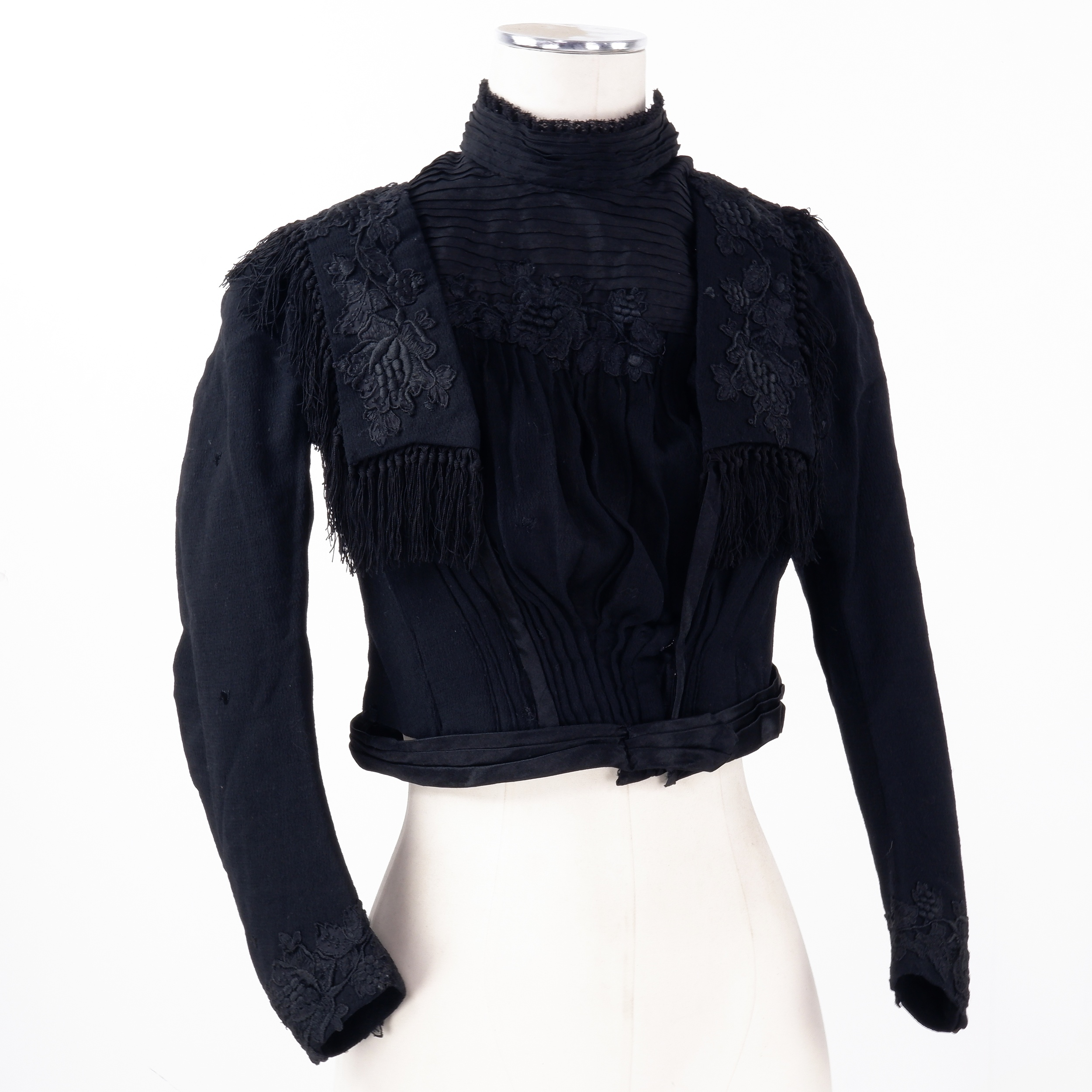 'Victorian Ladies Silk and Wool Embroidered Mourning Jacket, Circa 1890s'