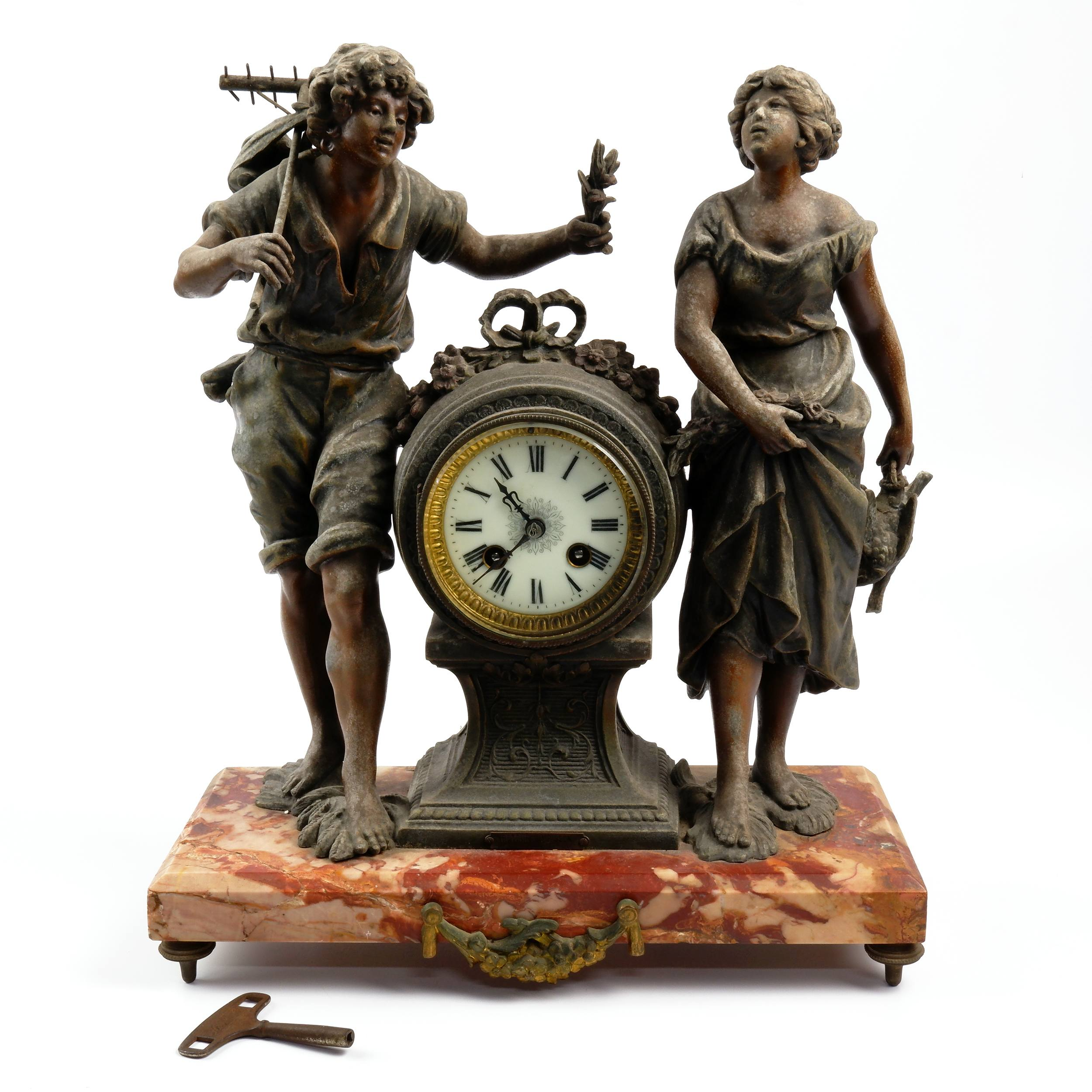 'Antique French Japy Freres Figural Bronze and Marble Mantle Clock'