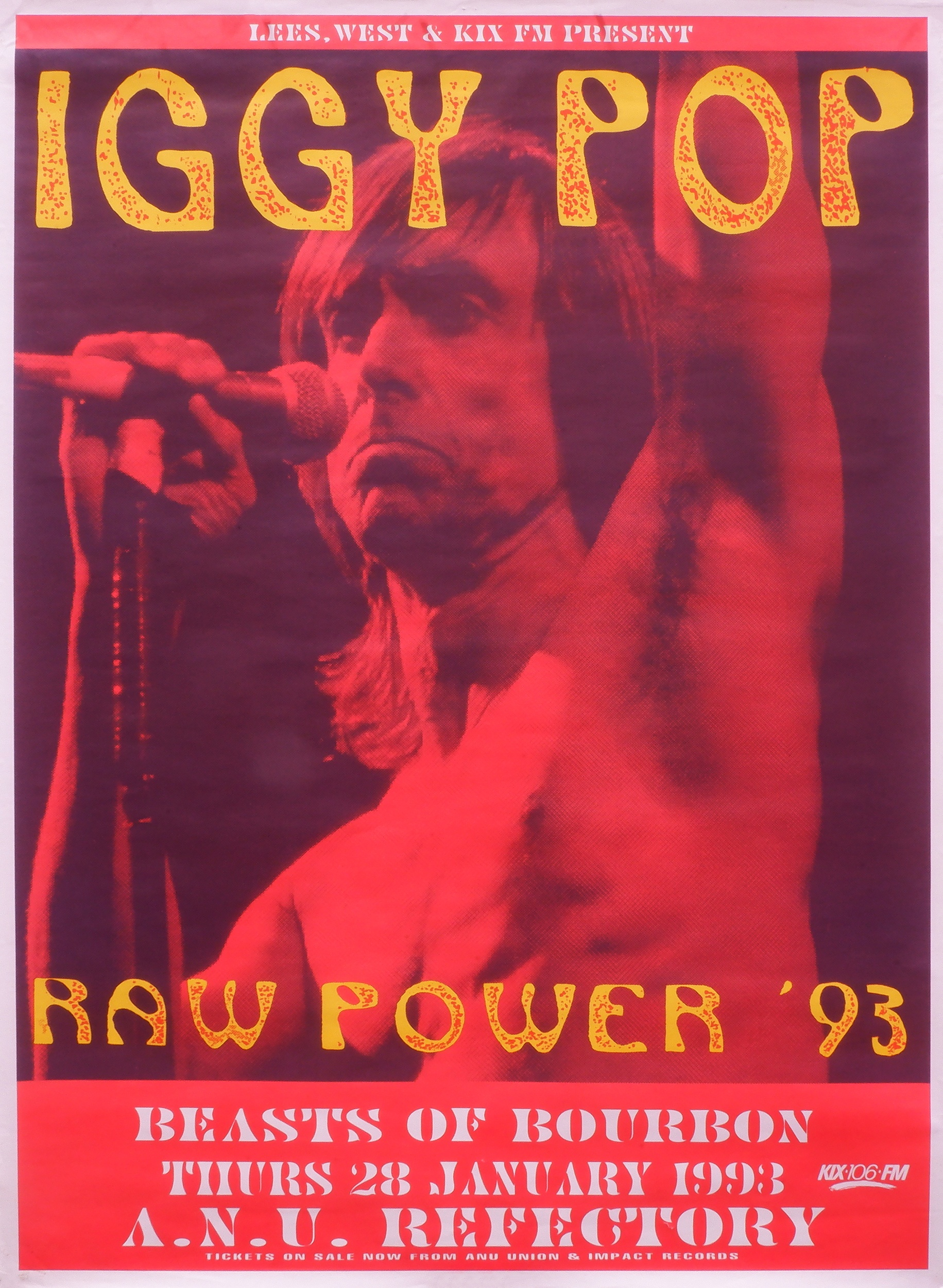 'Original Iggy Pop ANU Refectory 1993 Australian Tour Concert Poster'