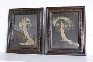 Two Vintage Art Noveau Fashion Prints in Pressed Kauri Pine Frames