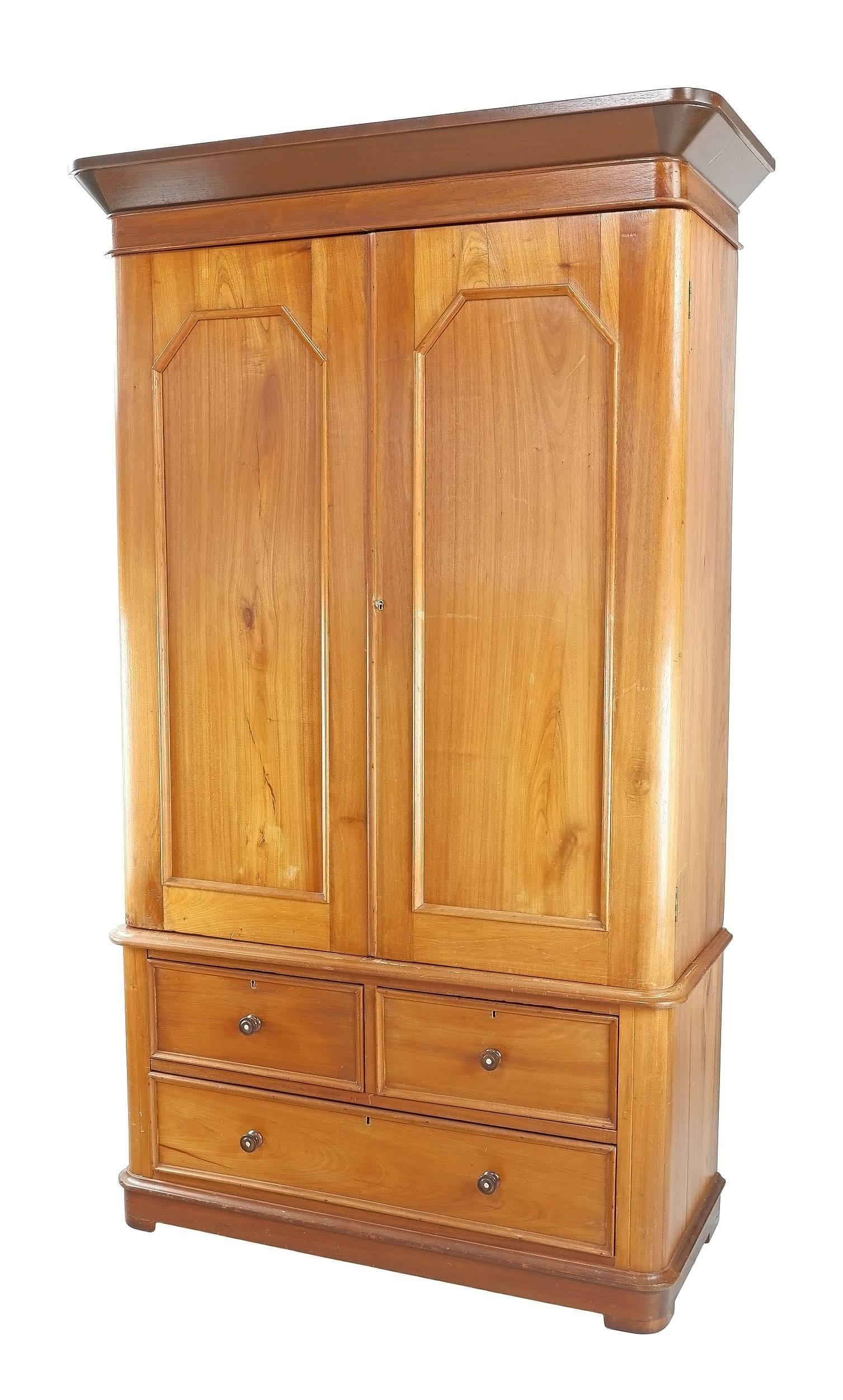'Antique Australian Cedar Two Door Wardrobe with Three Drawers Below, Late 19th Century'
