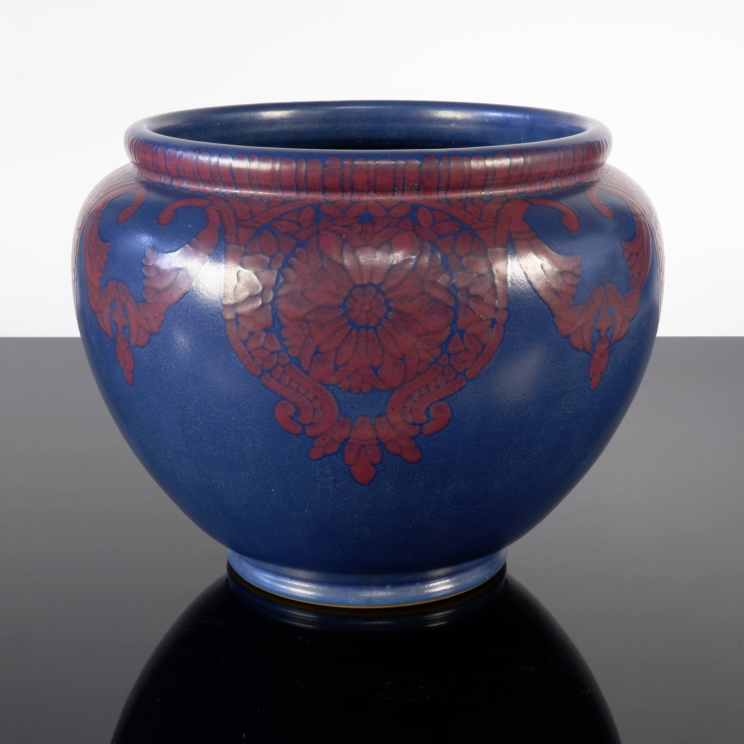 'English Lovatt Langley Purple Glazed Pottery Jardineer, Early to Mid 20th Century'
