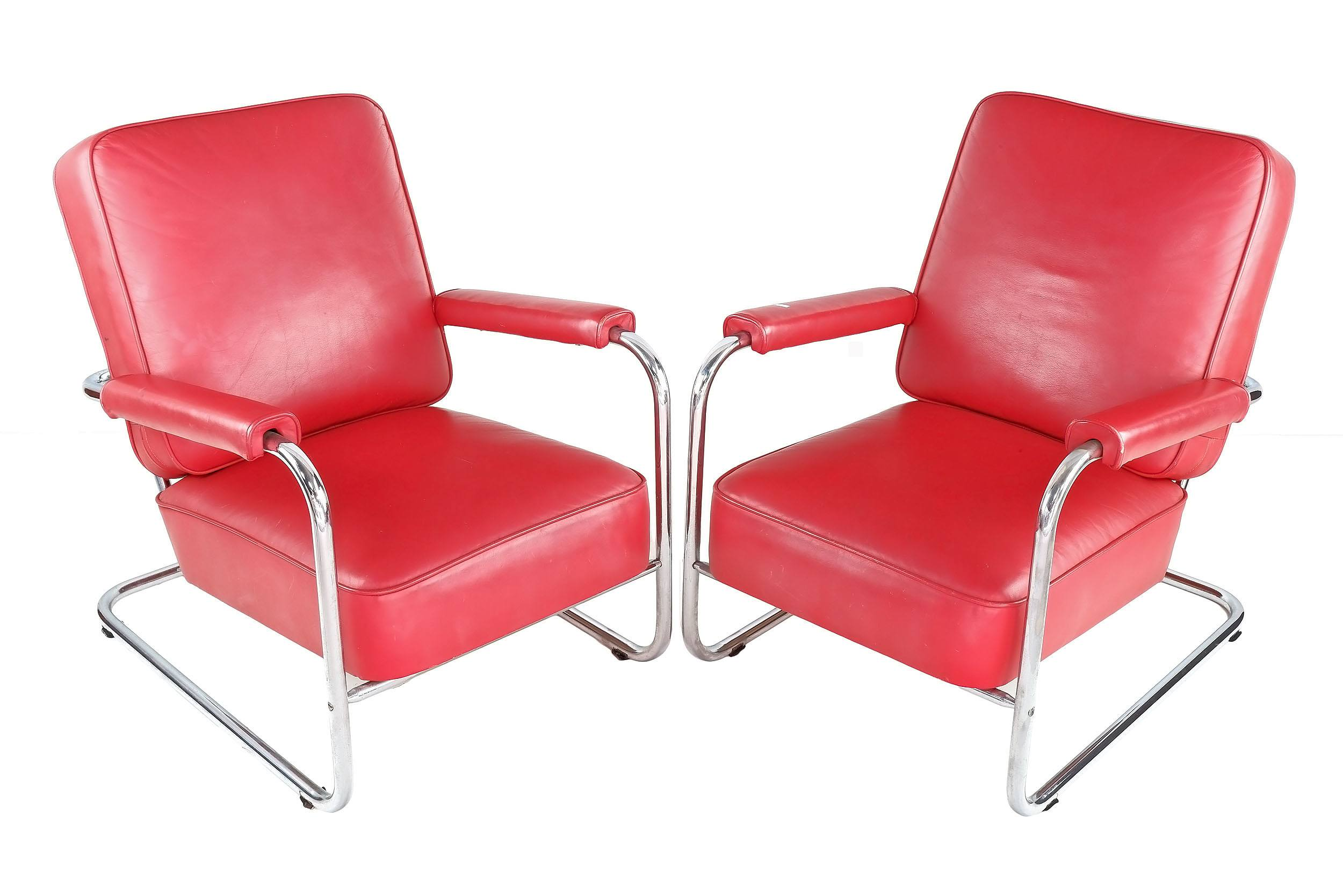 'Pair of Tubular Steel and Red Leather Upholstered Cantilever Armchairs'