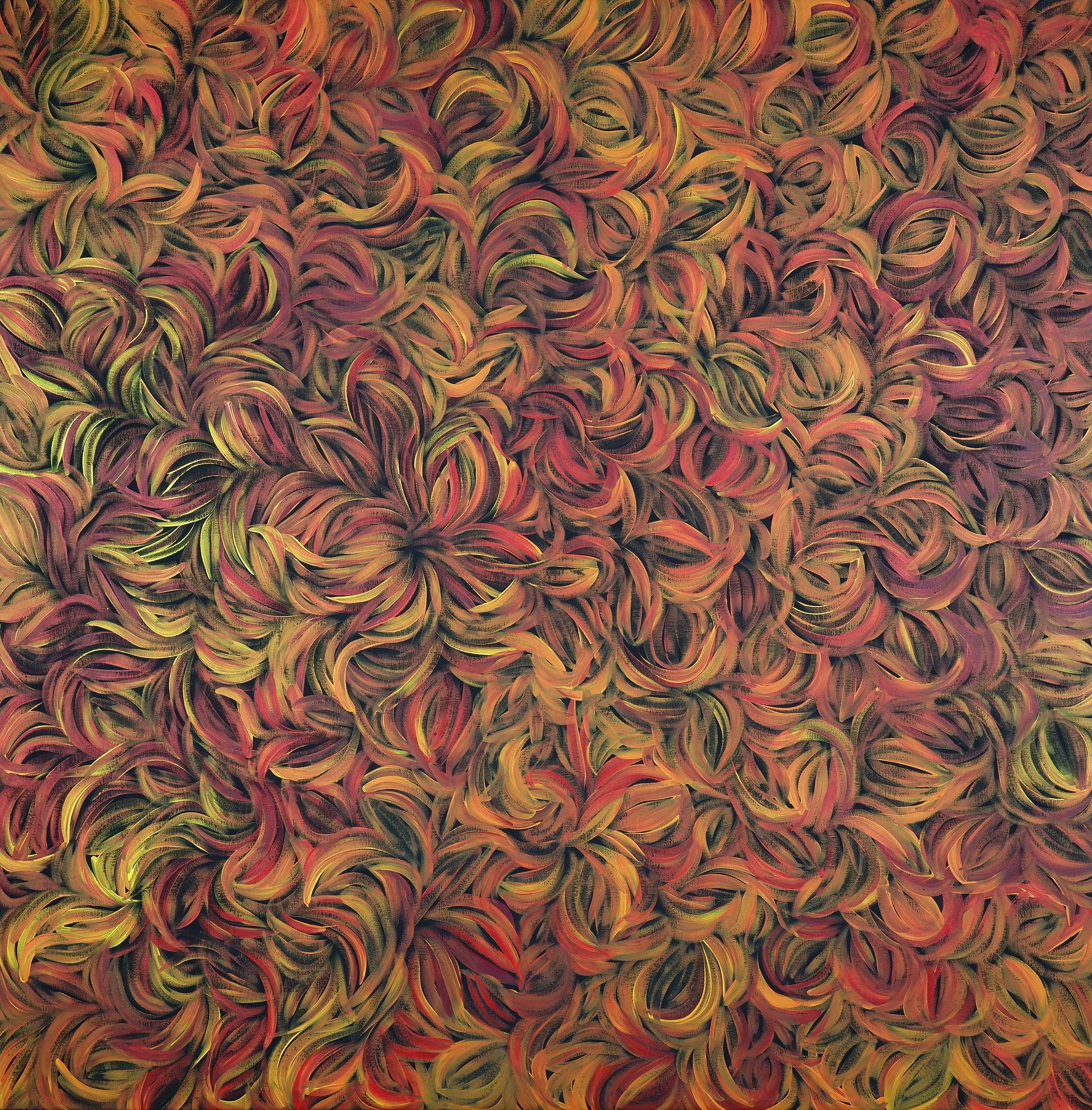 'Margaret Scobie (born 1948, Anmatyerre language group), Bush Leaf Medicine, Synthetic Polymer Paint on Canvas'