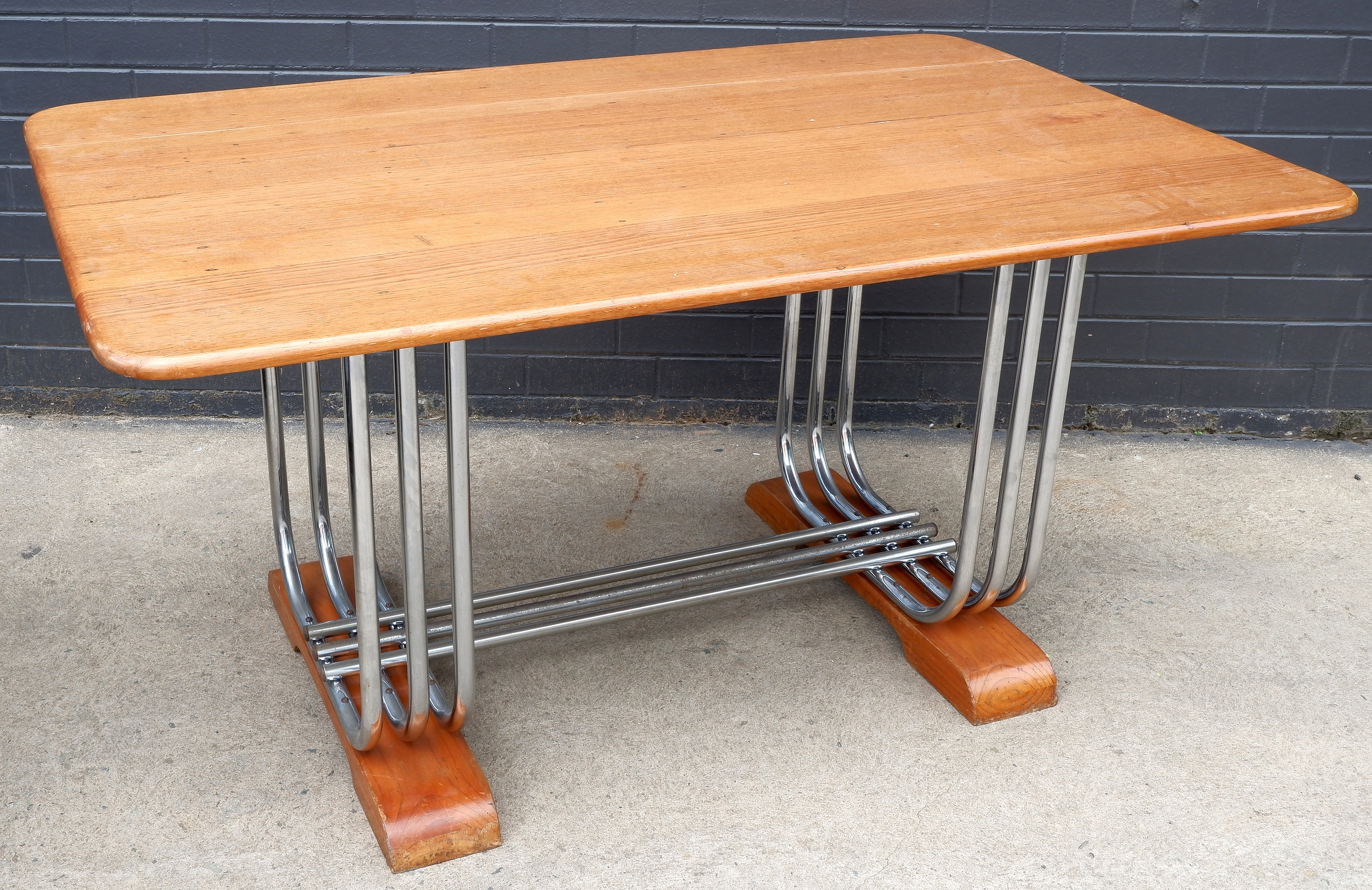 'Art Deco Chromed Tubular Steel Dining Table with Later Solid Ash Top'