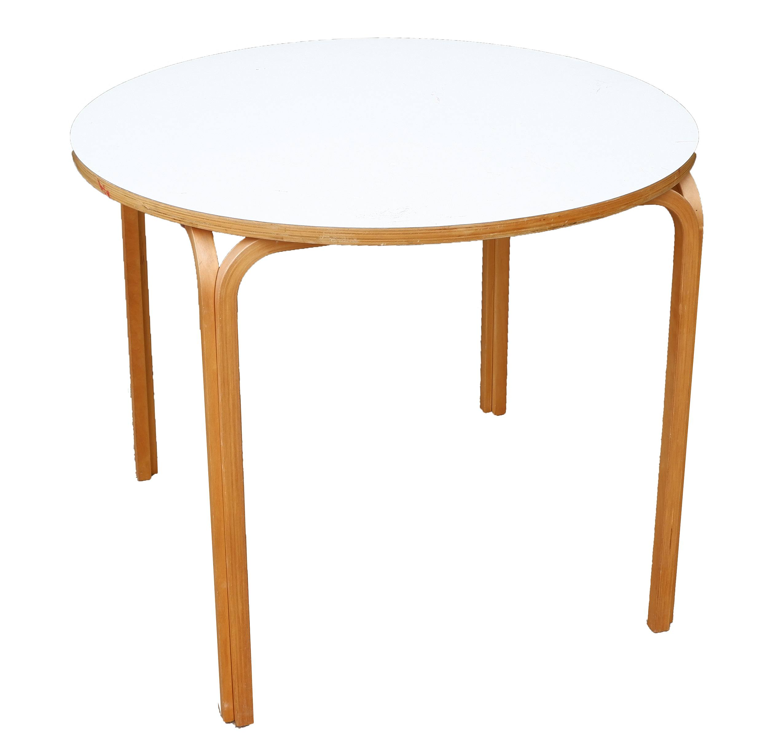 'Retro Bent Ply and Formica Top Circular Dining Table'