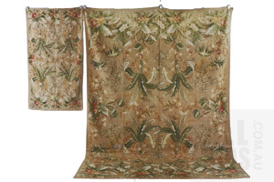 Two French Aubusson Style Handmade Wool Floor Textiles
