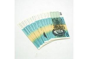 Ten Consecutively Numbered Johnston / Fraser $10 Notes, UTR714753 -UTR714762