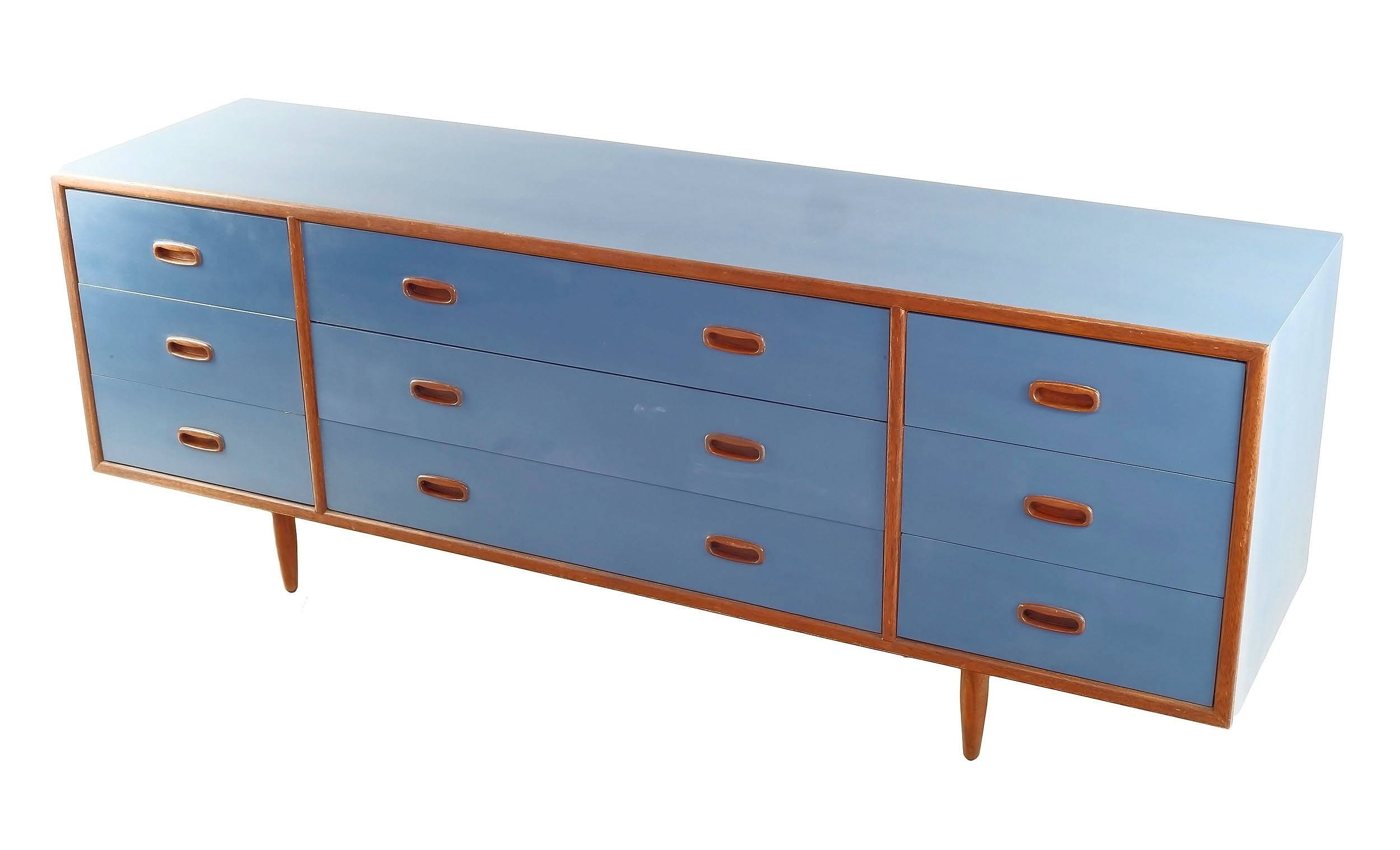 'Alrob Lowline Teak Sideboard with Later Blue Painted Exterior, Circa 1970'
