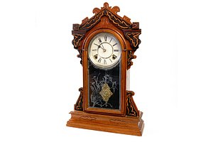 Antique Sessions USA Mahogany Cased 8 Day Striking Mantle Clock