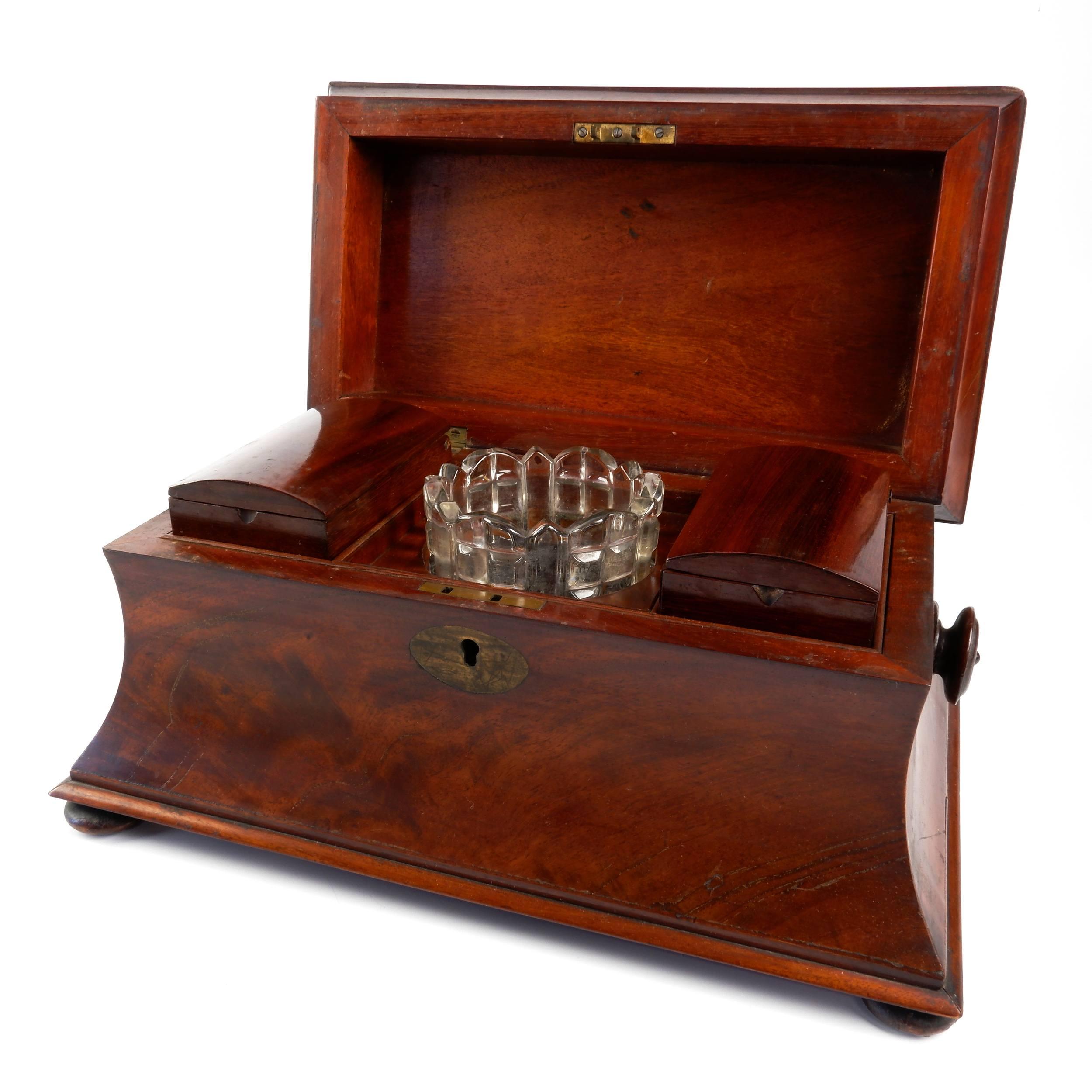 'Victorian Mahogany Tea Caddy, Mid 19th Century'