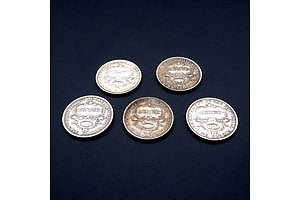 Five 1927 Australian Commemorative Parliament House Silver Florins