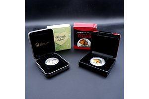 Perth Mint 2013 1oz Fine Silver Frilled Neck Lizard Coin and Perth Mint 2014 1/2oz Fine Silver Forever Love Coin