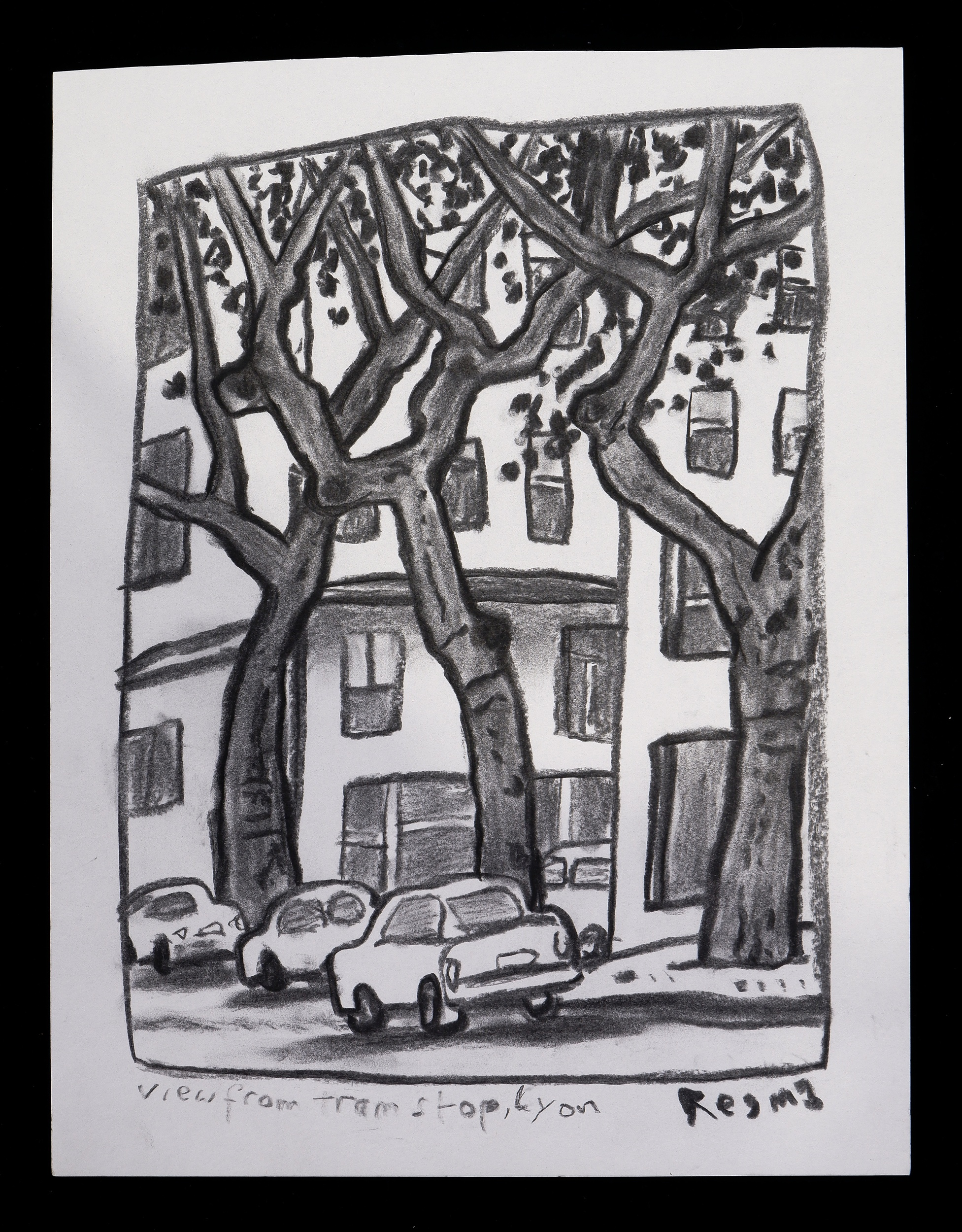 'Reg Mombassa (Chris ODoherty, born 1951), View From Tram Stop, Lyon, Charcoal on Paper'