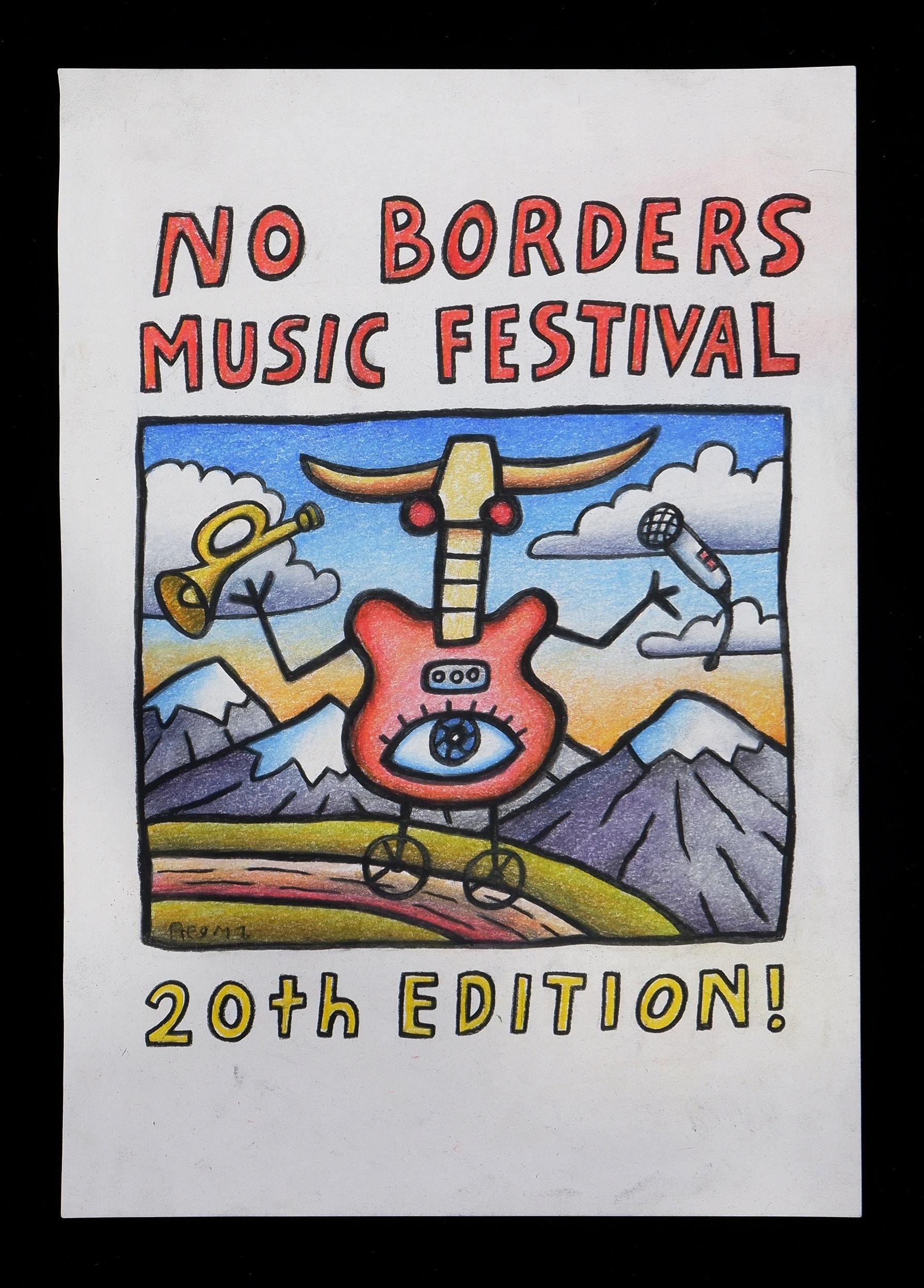'Reg Mombassa (Chris ODoherty, born 1951), No Borders Music Festival 2015, Pastel and Colour Pencil on Paper'
