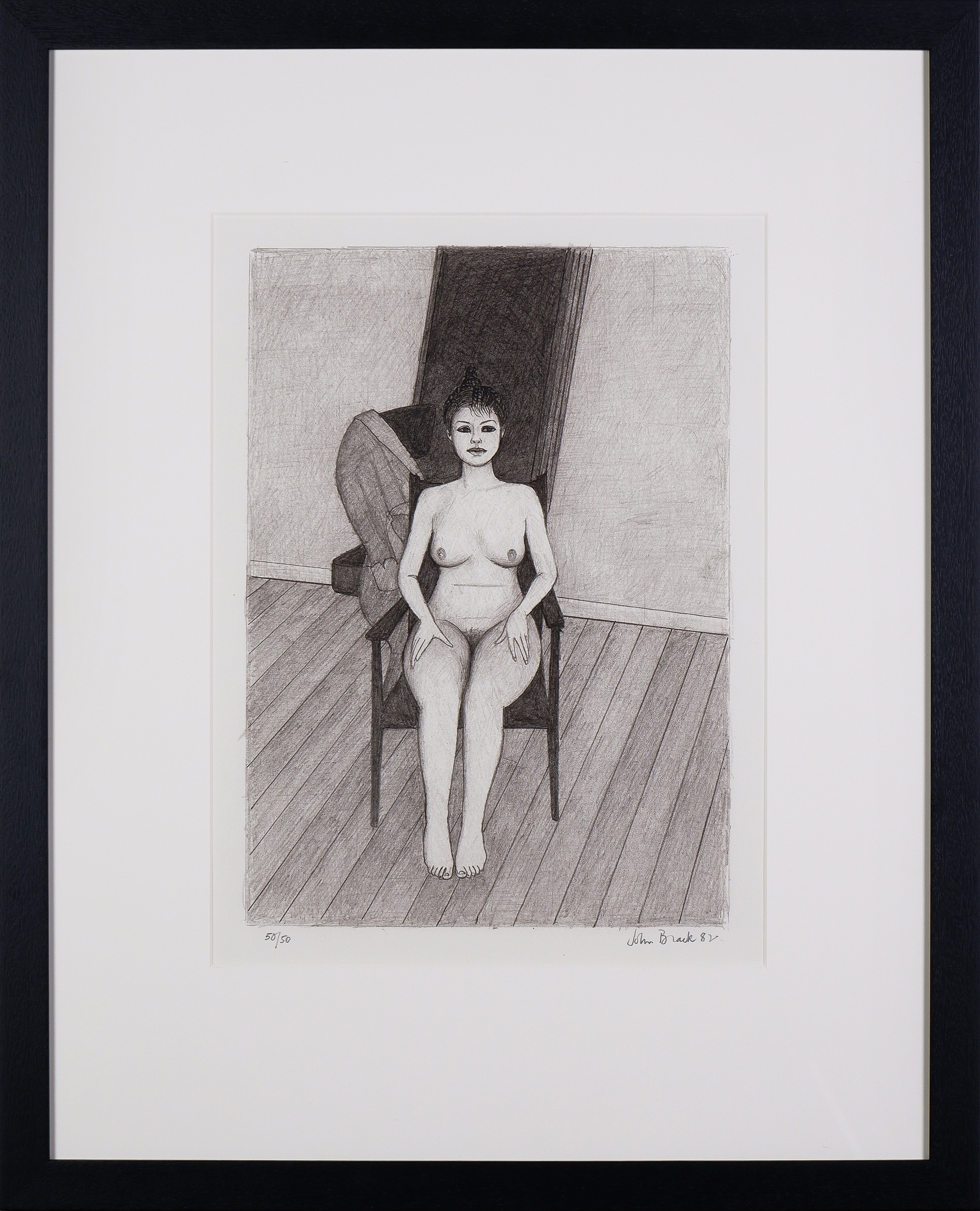 'John Brack (1920-1999), Seated Nude 1982, Lithograph'