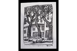 Reg Mombassa (Chris O'Doherty, born 1951), View From Tram Stop, Lyon, Charcoal on Paper